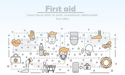 Vector thin line art first aid poster banner template
