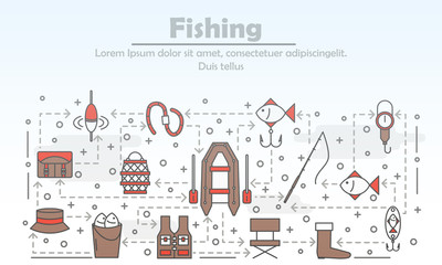 Vector thin line art fishing poster banner template
