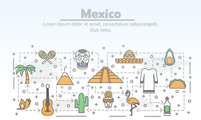 Vector thin line art mexico poster banner template