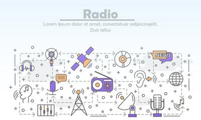 Vector thin line art radio poster banner template