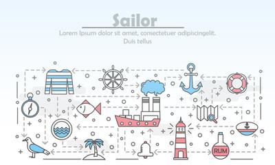 Vector thin line art sailor poster banner template