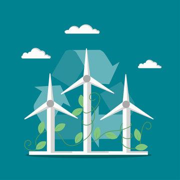 Windmills wind turbines vector flat style illustration