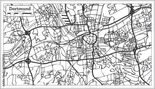 Dortmund On Map Of Germany.Dortmund Germany City Map In Retro Style Outline Map Stock Image