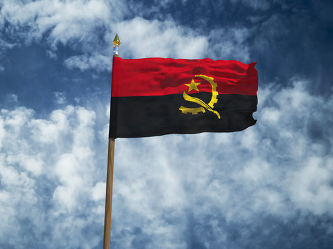 Angola flag Silk waving flag of Angola made transparent fabric with wooden flagpole gold spear on background sunny blue sky white smoke clouds real retro photo Countries of world 3d illustration