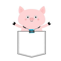 Pig face head in the pocket. Photo camera. Cute cartoon animals. Piggy piglet character. Dash line. White and black color. T-shirt design. Baby background. Isolated. Flat design.