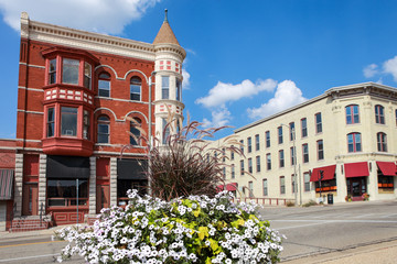 Turn of the century buildings in downtown Janesville, Wisconsin