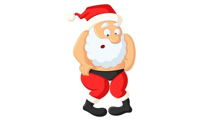 Vector cartoon illustration of funny santa claus . Isolated on white background.