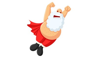 Vector cartoon illustration of santa claus is flying same as superman. Isolated on white background.