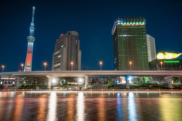 View of Tokyo skytree from Sumida river