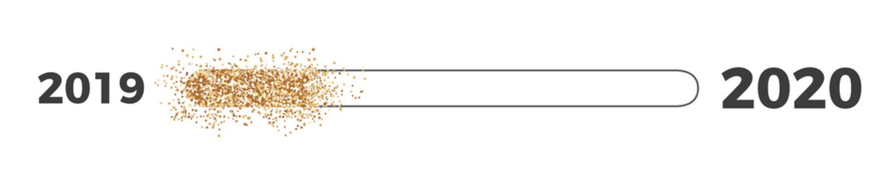 2019 to 2020 Loading Bar Gold on transparent background