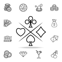 suit of playing cards icon. Detailed outline set of casino element icons. Premium graphic design. One of the collection icons for websites, web design