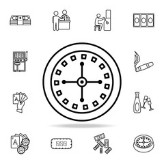 Roulette in the casino icon. Detailed outline set of casino element icons. Premium graphic design. One of the collection icons for websites, web design