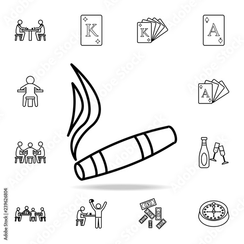 Smoldering Cigar Icon Detailed Outline Set Of Casino Element Icons