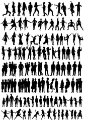 vector isolated, set silhouette people and children holiday