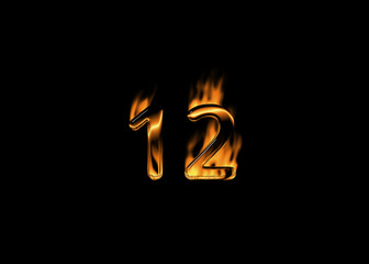 3D number 12 with flames black background