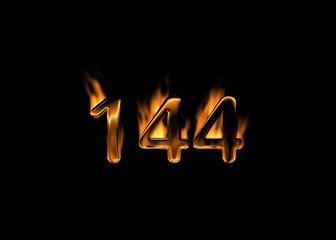 3D number 144 with flames black background