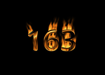 3D number 163 with flames black background