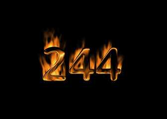 3D number 244 with flames black background