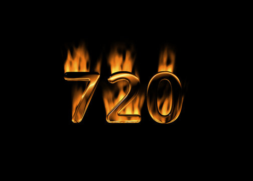 3D number 720 with flames black background
