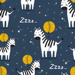Door stickers Bestsellers Kids Zebras, hand drawn backdrop. Colorful seamless pattern with animals, moon, stars. Decorative cute wallpaper, good for printing. Overlapping background vector. Design illustration