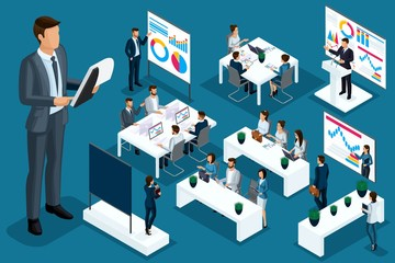 Isometric cartoon people, 3d businessmen and business ladies different situations, big man and mini coaching concept for vector illustrations Papier Peint