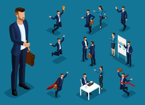 Isometric cartoon people, 3d set of businessman and business lady in different situations, big man office work and concepts for vector illustration