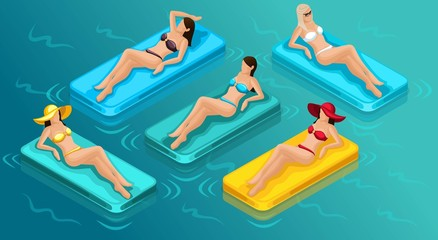 Isometric people girls, 3D tourists, a set of young beautiful girls in bathing suits sunbathing on inflatable mattresses, bikinis, sexy, sea, beach. Vector