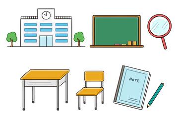 教室のイラストセット