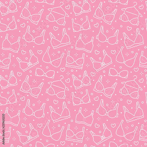 44e3e5b07243 Lingerie seamless pattern with flat line icons of bra types. Woman underwear  background, vector illustrations of brassiere. Cute pink white wallpaper  for ...
