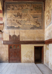 Stone wall decorated with mural depicting Istanbul city at ottoman historic Beit El Set Waseela building (Waseela Hanem House), Old Cairo, Egypt