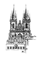 sketch drawing of Church Our Lady before Tyn in Prague