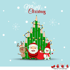 Christmas Greeting Card with Santa Claus and Christmas tree. Vector illustration
