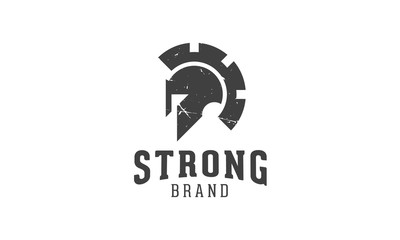 A vector spartan logo that represents a combination of spartan helmet and gear.