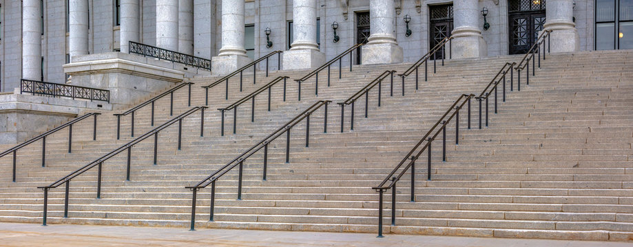 The front steps of Utah State Capitol Building