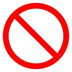 No sign - red thin simple, isolated - vector