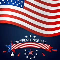 Happy independence day card United States of America. American Flag paper design, vector illustration