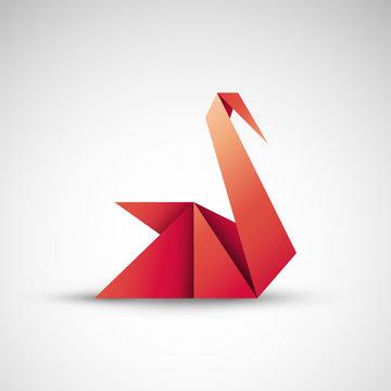 łabędź origami logo wektor