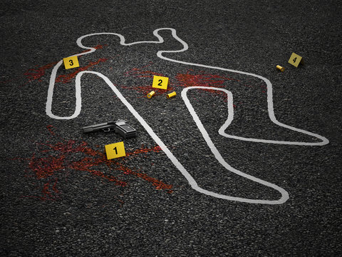 Crime scene of a murder case. 3D illustration