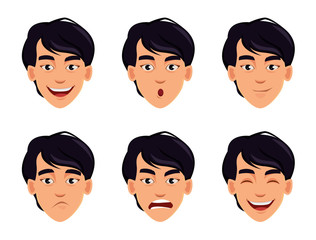 Face expressions of Asian man