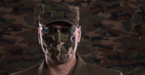 soldier in a military mask