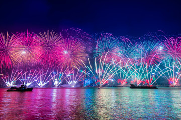 Fireworks celebration in New Year Countdown festival, Hongkong