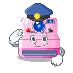 Police cute retro instant camera on cartoon
