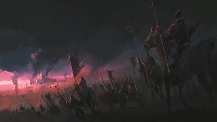 Fototapeta The pressure of the army, ancient war scenes, digital painting.