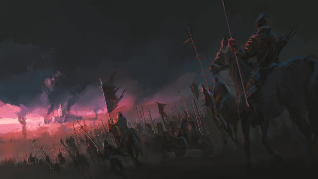 The pressure of the army, ancient war scenes, digital painting.