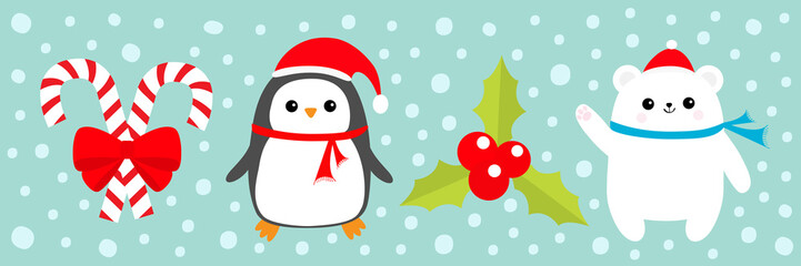 Merry Christmas icon set. Candy Cane stick with red bow. Penguin bird, white polar bear cub wearing Santa Claus hat, scarf. Holly berry Mistletoe. Blue snow background. Flat design.