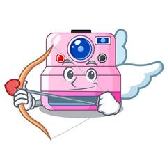 Cupid cute retro instant camera on cartoon