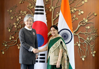 India's Foreign Minister Sushma Swaraj shakes hands with her South Korean counterpart Kang Kyung-wha during a photo opportunity in New Delhi
