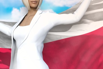young business woman holds Poland flag in hands behind her back on the blue sky background - flag concept 3d illustration