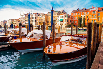 Taxi boat in Venice, Italy is waiting for tourist canal.