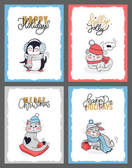 Winter Animals Illustration, Christmas Cards